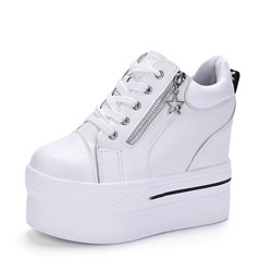 Black & White Cross Strap Zipper Wedge Sneakers