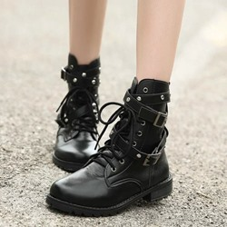 Black Buckle Fashion Lace-Up Ankle Boots