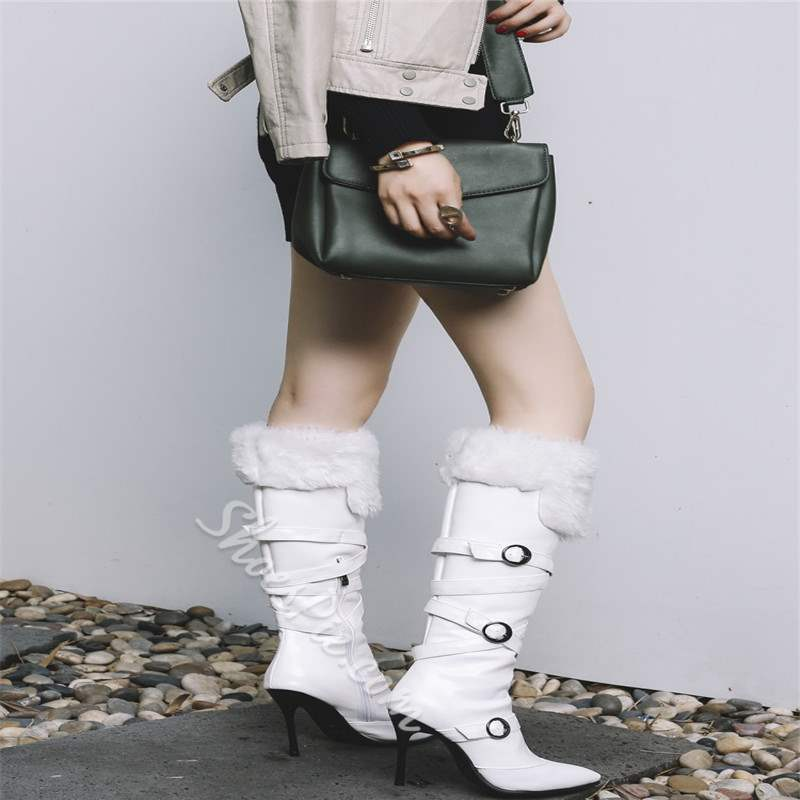 Shoespie Buckle Pointed Toe Knee High Boots