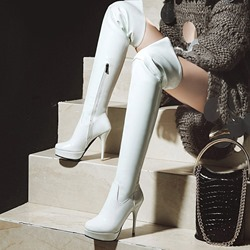Plain Platform Pointed Toe Thigh High Boots