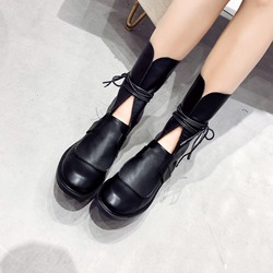 Black Lace-Up Casual Ankle Boots