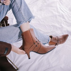Shoespie Pointed Toe Fashion Kitten Heel Ankle Boots