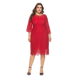 Office Lady Plain Lace Women's Maxi Dress
