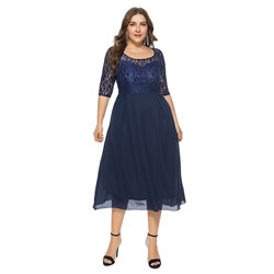 Office Lady Lace Plain Women's Maxi Dress