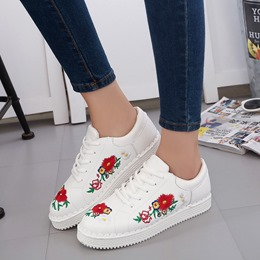 Floral Embroidery Lace-Up Women's Sneakers