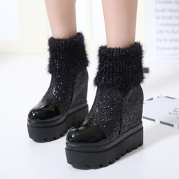 Black Sequin Platform Fashion Wedge Heel Ankle Boots