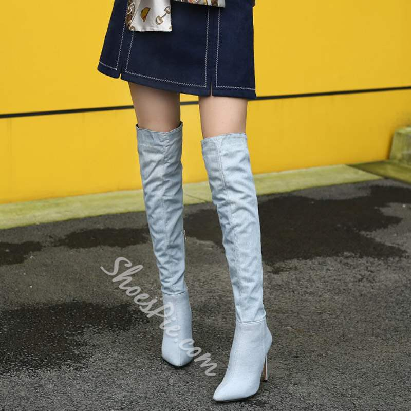 Blue Denim Pointed Toe Thigh High Boots