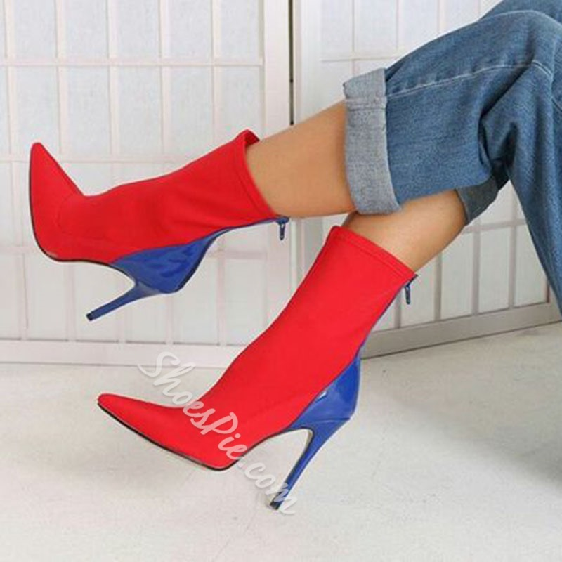Casual Pointed Toe Stiletto Heel Ankle Boots