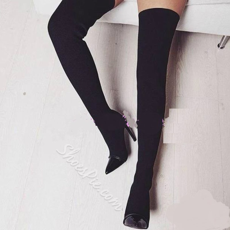 Casual Black Slip-On Thigh High Boots