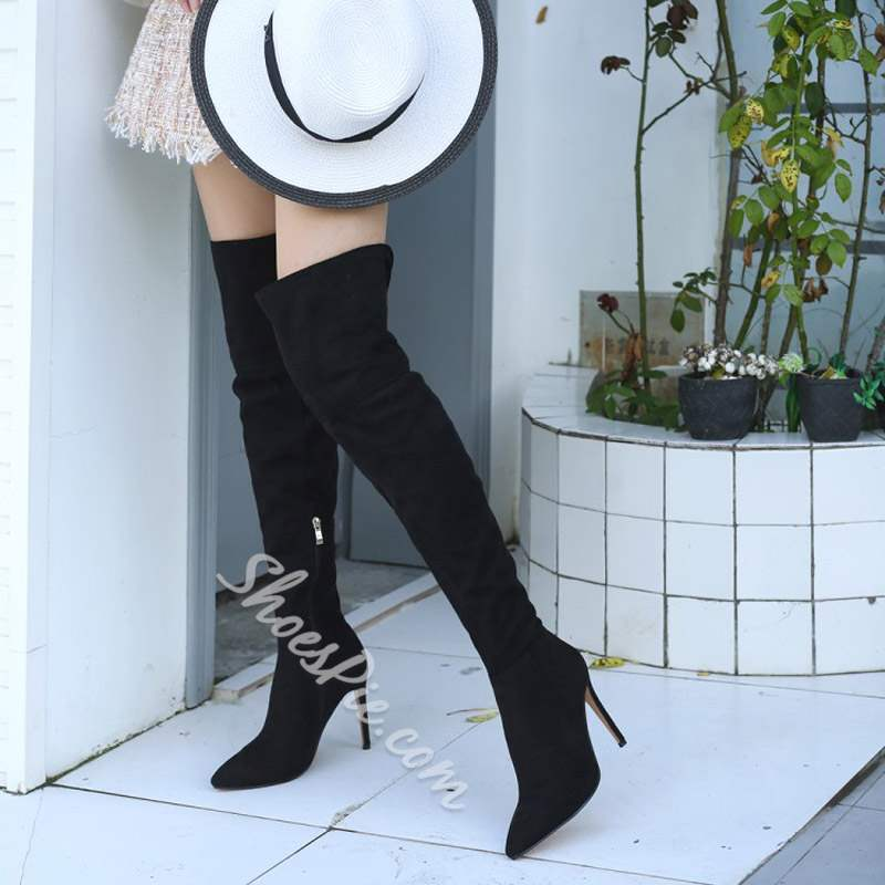 Shoespie Pointed Toe Plain Casual Thigh High Boots