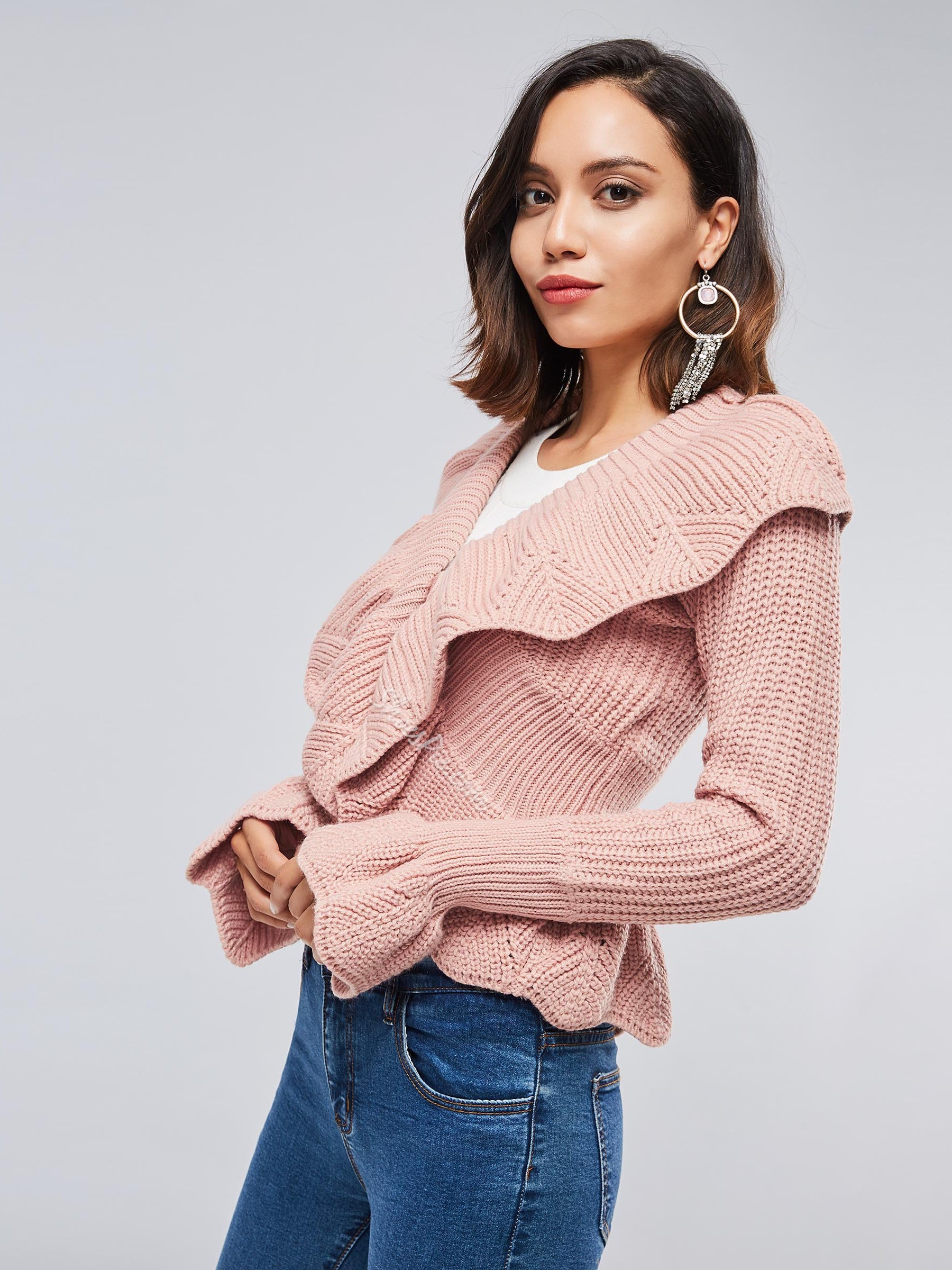 Lace-Up Lace-Up Thick Slim Women's Sweater