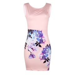 Shoespie Pullover Floral Pleated Women's Bodycon Dress