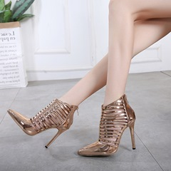 Golden Pointed Toe Stiletto Ankle Boots