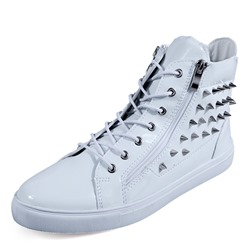 Rivet Zipper Lace-Up High Upper Men's Sneakers