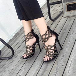 Rhinestone Peep Toe Black Stiletto Heels