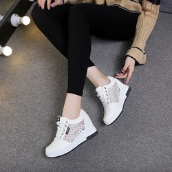 Lace-Up Hidden Elevator Heel Wedge Sneakers