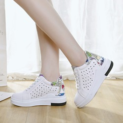 Hollow Print Lace-Up Women's Wedge Sneakers