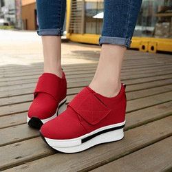 Velcro Round Toe Low Upper Wedge Sneakers