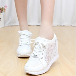 Shoespie Lace-Up Hidden Elevator Heel Sneaker