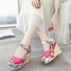 Peep Toe Ankle Strap Floral Wedge Sandals