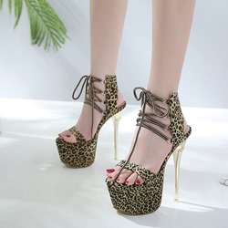 Leopard Lace-Up Ankle Strap Sexy Stiletto Heels