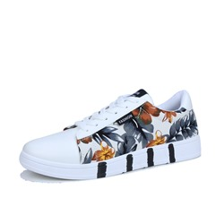 Casual Floral Print Lace-Up Low Upper Men's Sneakers