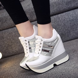 Round Toe Lace-Up Wedge Women's Sneakers