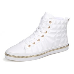 High Upper Lace-Up Round Toe Men's Sneakers