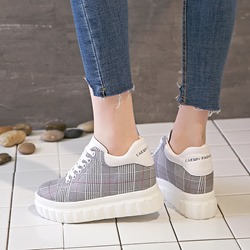 Lace-Up Gingham Casual Women's Wedge Sneakers
