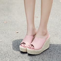Platform Slip-On Pink Wedge Sandals