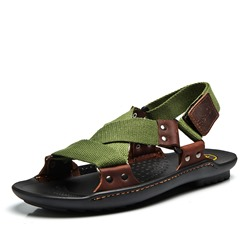 Rivet Thread Velcro Men's Sandals