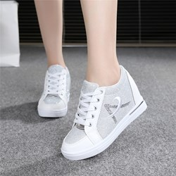 Embroidery Hidden Elevator High Heel Sneakers