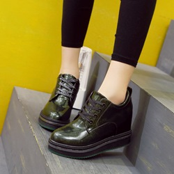 Platform Lace-Up Hidden Elevator Heel Sneakers