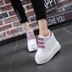 Sequin Velcro Platform Women's Wedge Sneakers