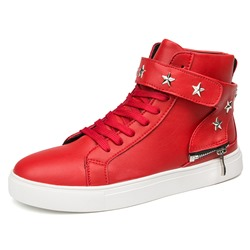 Rivet Zipper High Upper Velcro Men's Sneakers