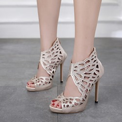 Shoespie Light Apricot Rhinestone Stiletto Heels