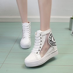 White Mesh High Upper Wedge Sneakers