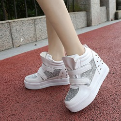 Rivet Sequin Velcro Women's Wedge Sneakers