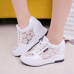 Round Toe Elevator Heel Wedge Sneakers