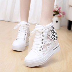 Print Hidden Elevator Heel Women's Wedge Sneakers