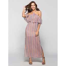 Shoespie Falbala Slash Neck Stripe Women's Maxi Dress