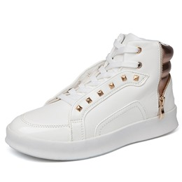 Rivet Round Toe Zipper Casual Men's Sneakers