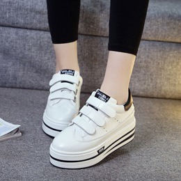 Black And White Velcro Platform Women's Sneakers