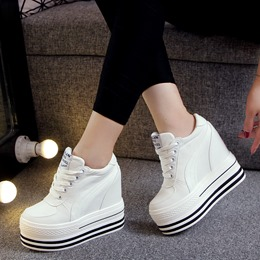 Black And White Women Wedge Sneakers