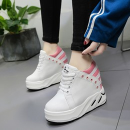 Shoespie Lace-Up Hidden Wedge Sneakers