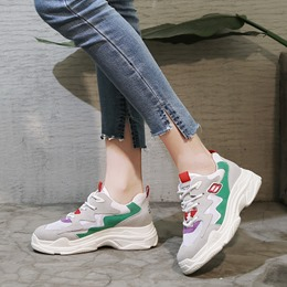 Shoespie Color Block Lace-Up Platform Women's Sneakers