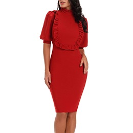 Shoespie Stand Collar Pullover Women's Bodycon Dress