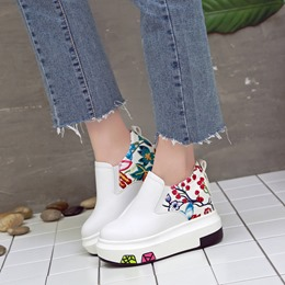 Shoespie Floral Slip-On Wedge Sneakers