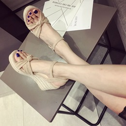 Casual Suede Buckle Ankle Strap Wedge Sandals