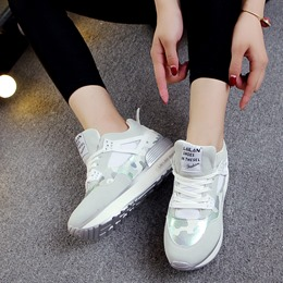 Camouflage Lace-Up Round Toe Platform Women's Sneakers